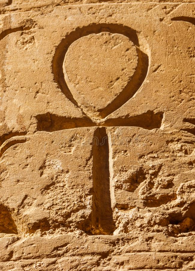 Simbolo geroglifico egiziano antico Ankh fotografie stock libere da diritti