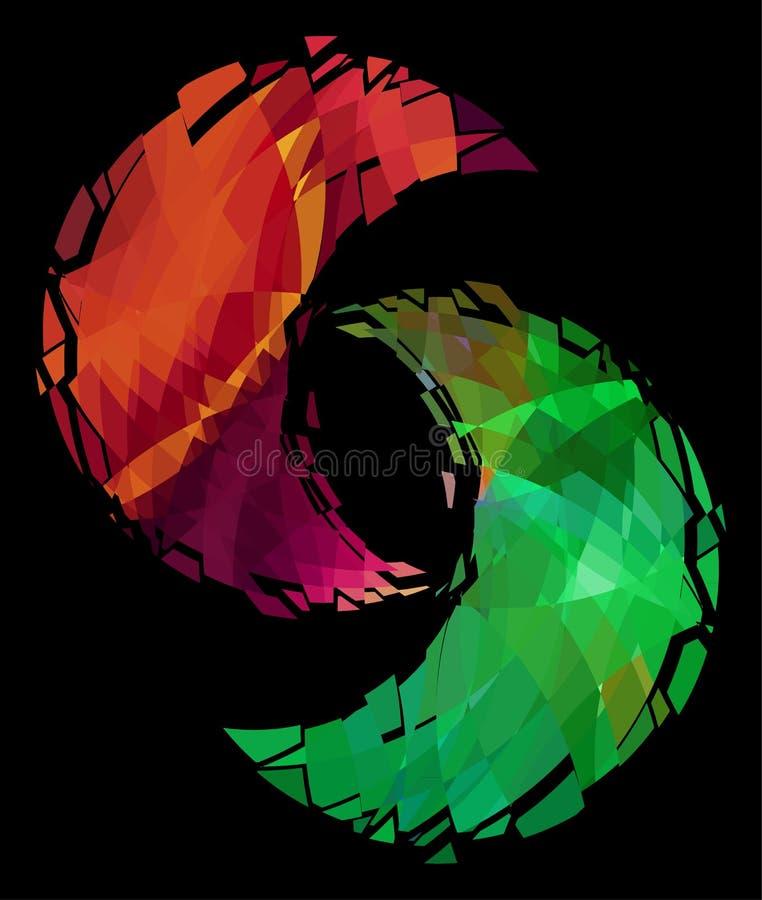 Simbolo, ghiaccio e fuoco di yin yang royalty illustrazione gratis