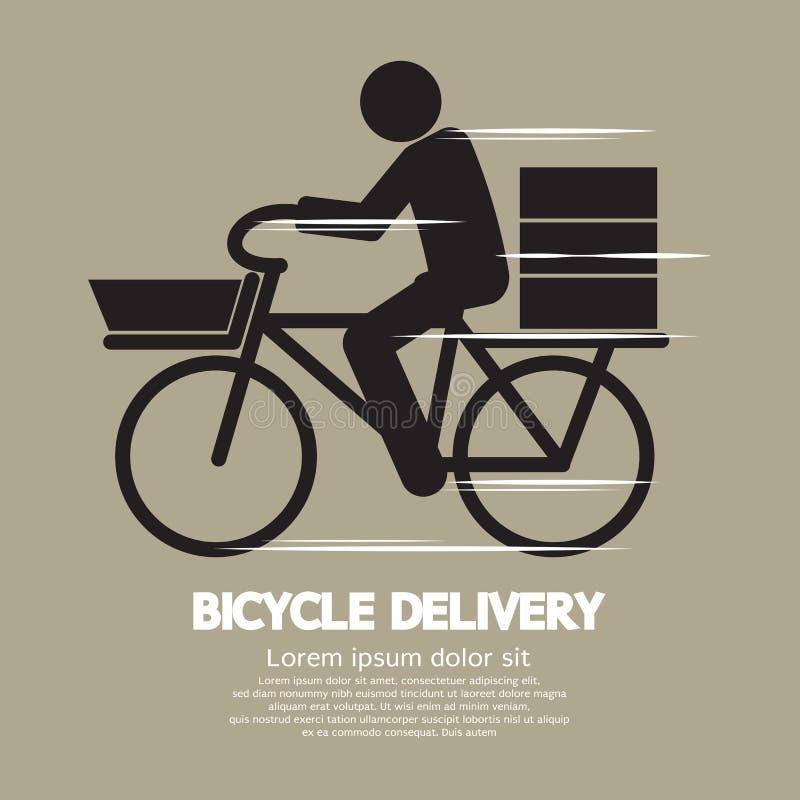 Simbolo grafico di servizio di distribuzione della bicicletta illustrazione di stock
