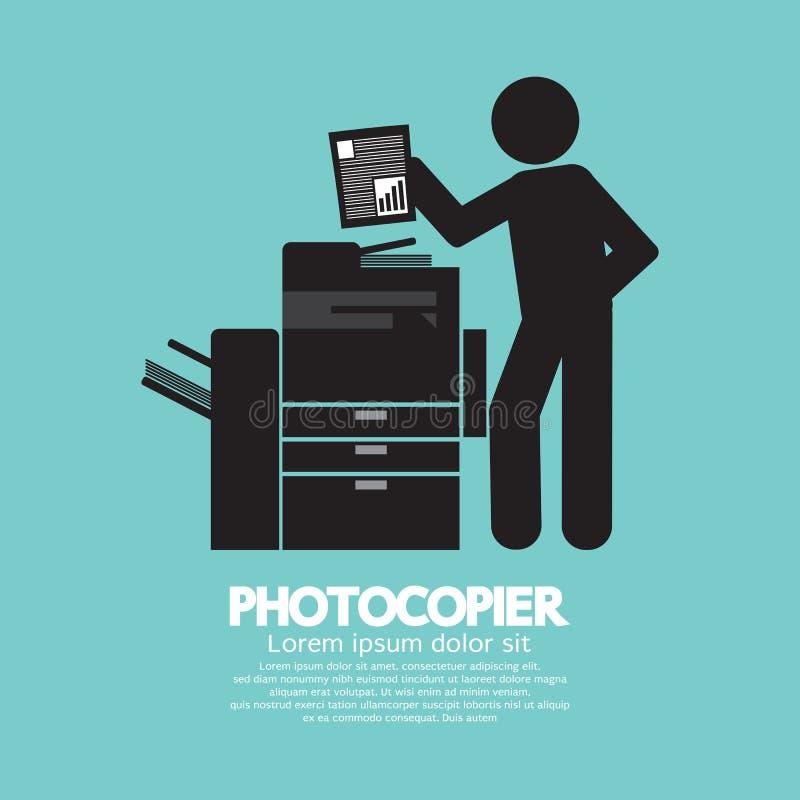 Simbolo grafico di un uomo che per mezzo di una fotocopiatrice illustrazione di stock