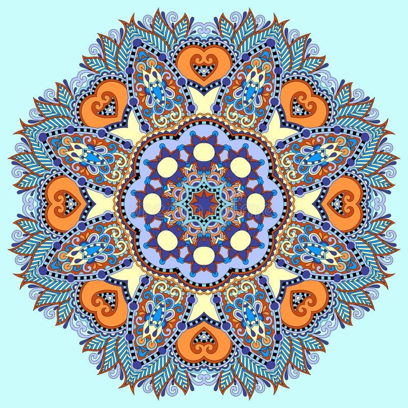 Simbolo indiano spirituale decorativo del cerchio di loto illustrazione vettoriale