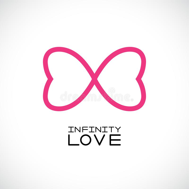 Simbolo infinito di amore simbolo senza fine Due cuori Illustrazione di vettore illustrazione di stock