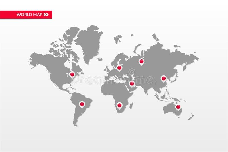 Simbolo infographic della mappa di mondo di vettore Icone capitali del punto della mappa del paese Segno globale internazionale d illustrazione di stock