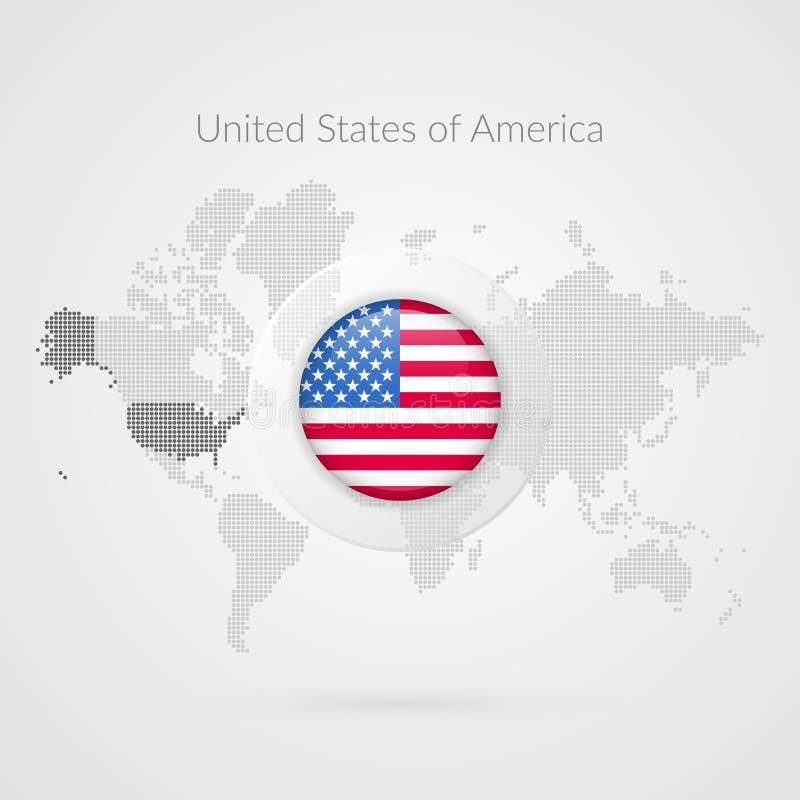 Simbolo infographic della mappa di mondo di vettore Icona della bandiera degli Stati Uniti d'America Segno globale internazionale illustrazione vettoriale