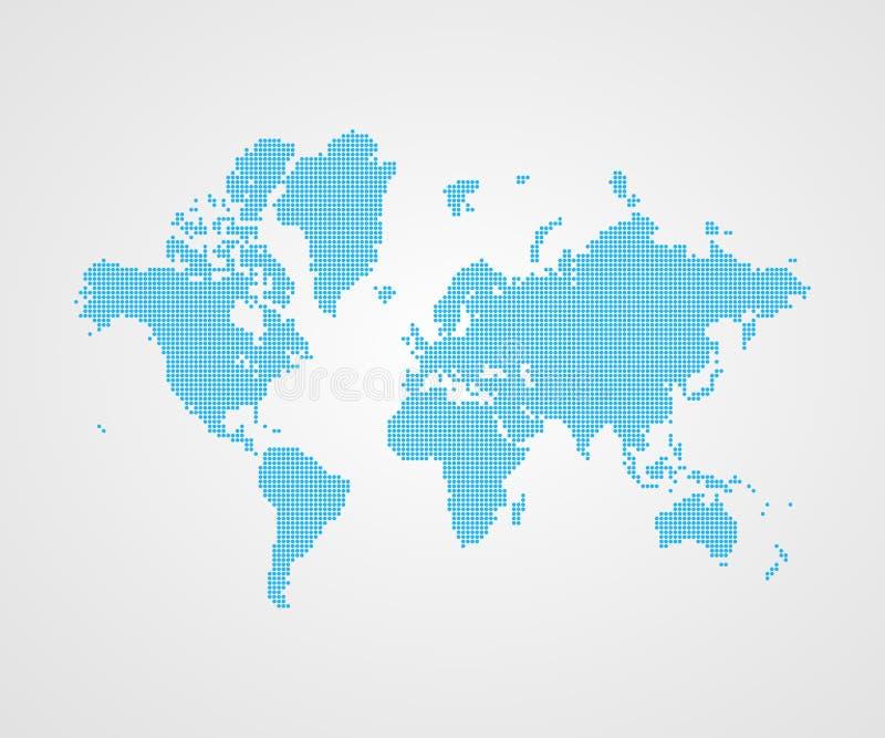 Simbolo infographic punteggiato vettore della mappa di mondo Segno internazionale dell'illustrazione Elemento blu del modello per royalty illustrazione gratis