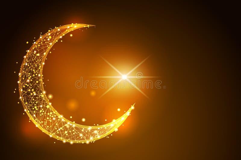 Simbolo islamico a mezzaluna poli wireframe basso sul fondo dello spazio progettazione dell'estratto dell'illustrazione della lin royalty illustrazione gratis