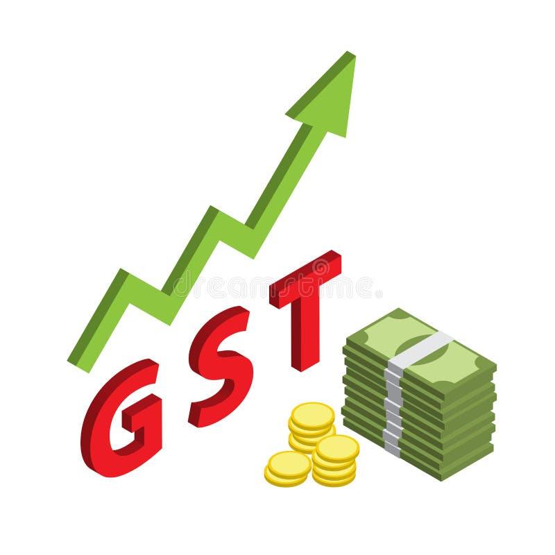 Simbolo isometrico dei soldi con l'aumento di beni e della tassa GST di servizi illustrazione vettoriale