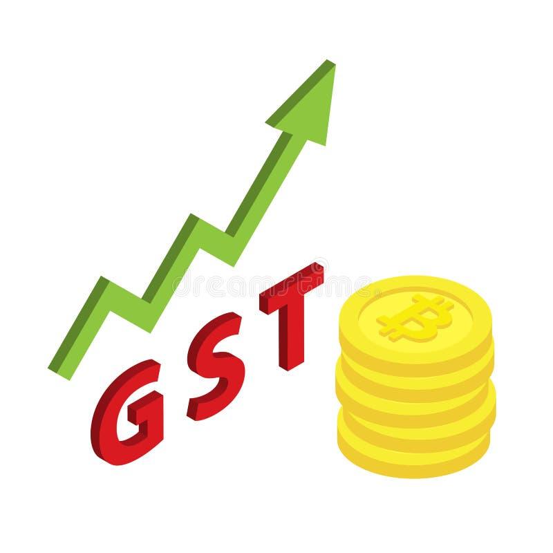 Simbolo isometrico di Bitcoin con l'aumento di beni e della tassa GST di servizi royalty illustrazione gratis