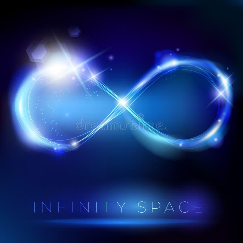 Simbolo leggero blu di infinito con gli effetti delle luci