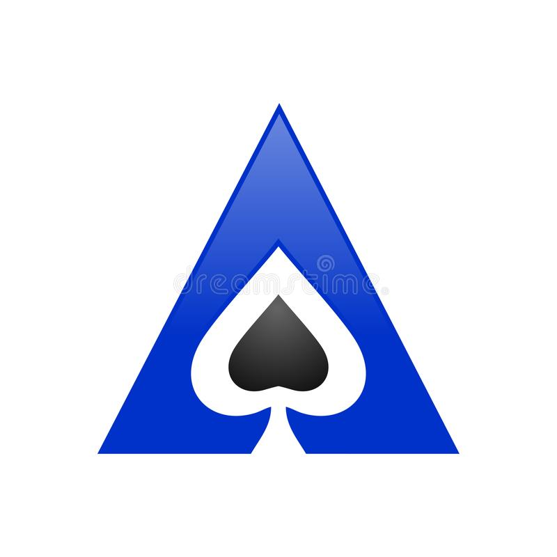 Simbolo Logo Design del triangolo di Ace della vanga illustrazione di stock