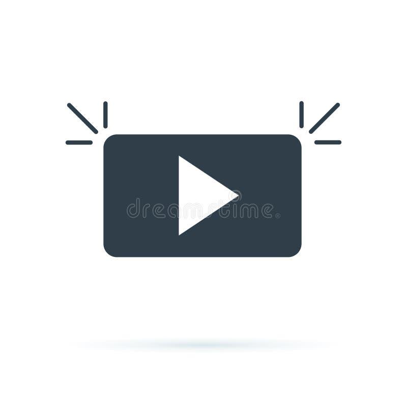 Simbolo Logo Icon Vector del bottone di media del gioco Icona del tasto di riproduzione nello stile piano Flusso continuo dell'il illustrazione di stock