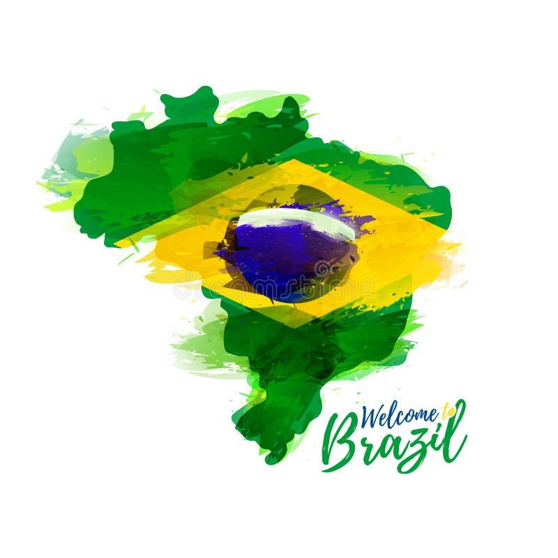 Simbolo, manifesto, insegna Brasile Mappa del Brasile con la decorazione della bandiera nazionale royalty illustrazione gratis