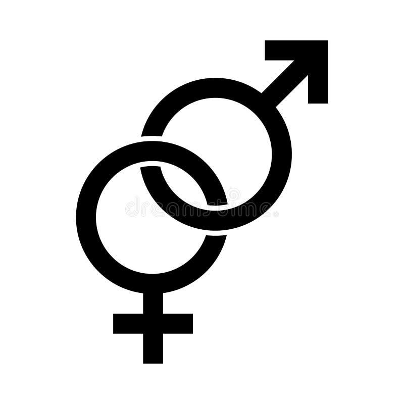 Simbolo maschio e femminile Segno eterosessuale dell'uomo e delle donne Il Venere e guasta l'icona illustrazione di stock