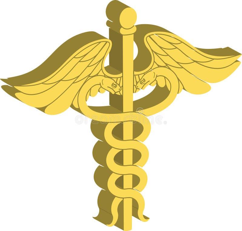 Simbolo medico 3d del Caduceus illustrazione vettoriale