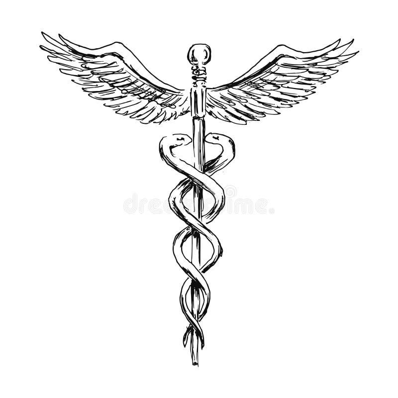 Simbolo medico del caduceo di schizzo della mano illustrazione di stock