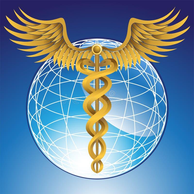 Simbolo medico del Caduceus con il globo 3D illustrazione di stock
