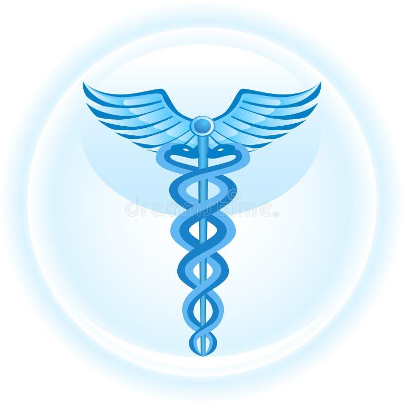 Simbolo Medico Del Caduceus - Priorità Bassa Blu Immagine Stock