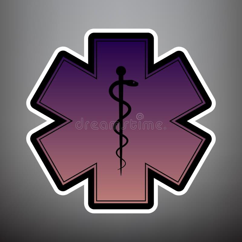 Simbolo medico dell'emergenza o della stella di vita con il confine Vec royalty illustrazione gratis