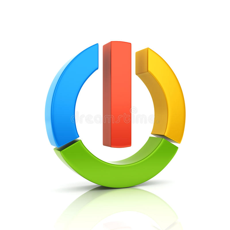 Simbolo metallico di potenza colorato estratto illustrazione di stock