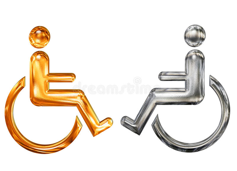 Simbolo modellato dorato e d'argento dell'handicap illustrazione di stock