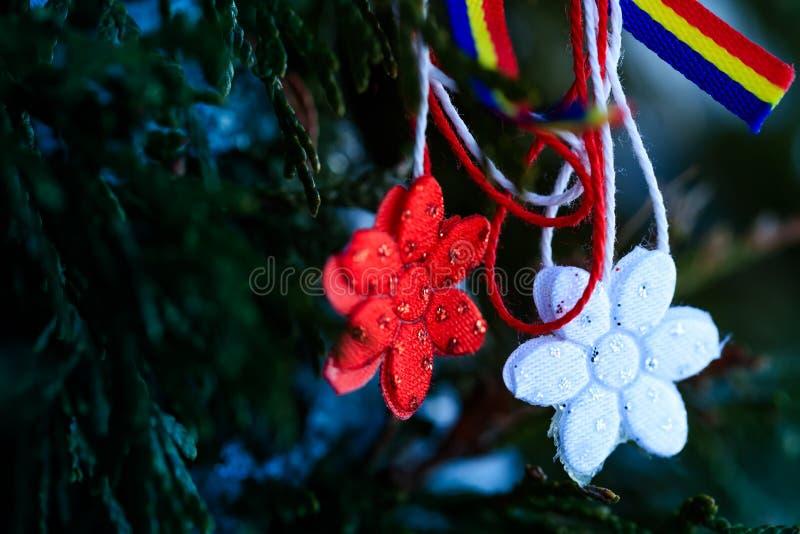Simbolo moldavo e rumeno della molla Martisor su sfondo naturale verde con gli elementi tricolori Martisor è un rosso e bianco immagini stock libere da diritti