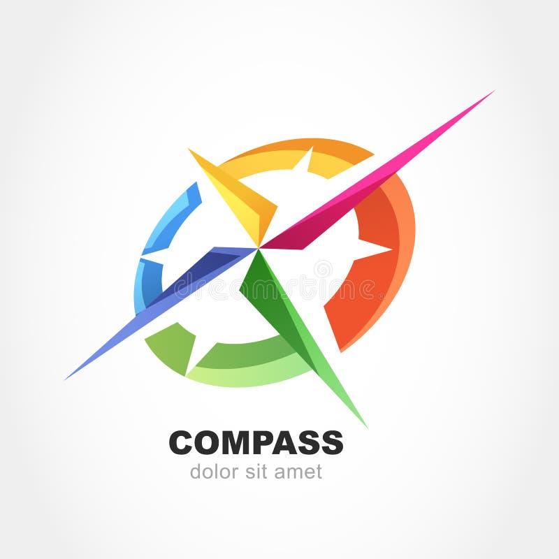 Simbolo multicolore astratto della bussola Modello di progettazione di logo di vettore illustrazione di stock
