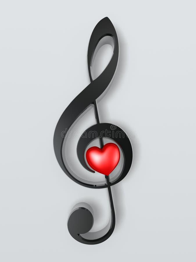 Simbolo musicale e cuore illustrazione di stock