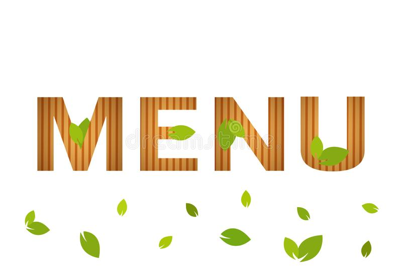 Simbolo naturale isolato di vettore del menu con le foglie verdi su fondo bianco Copertura del menu del ristorante fotografie stock libere da diritti