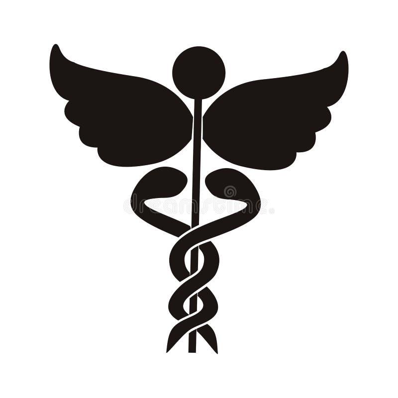 Simbolo nero di salute della siluetta con i serpenti intrecciati royalty illustrazione gratis