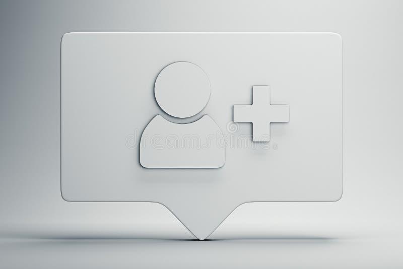 Simbolo o icona del seguace su fondo bianco rappresentazione 3d Concetto sociale di media fotografia stock libera da diritti
