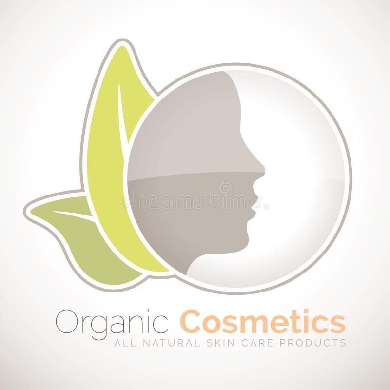 Simbolo organico dei cosmetici per tutti i prodotti di cura di pelle naturali illustrazione di stock
