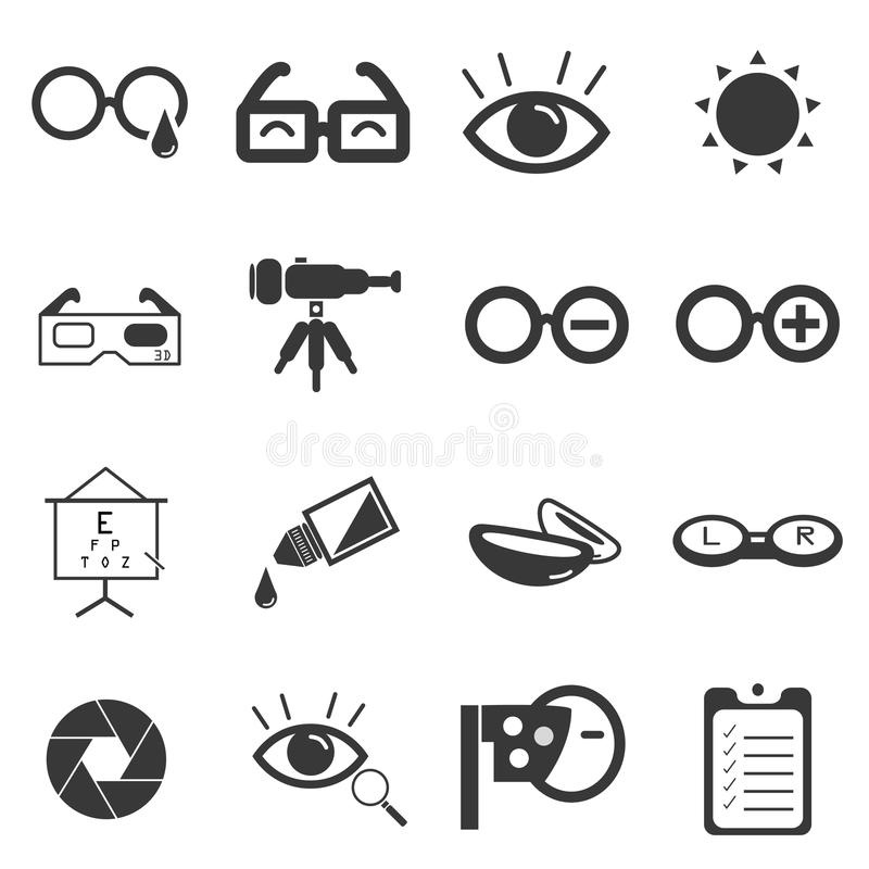 Simbolo ottico delle icone dell'occhio illustrazione di stock
