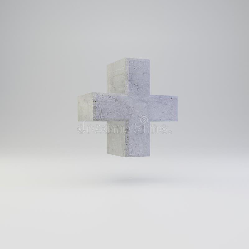 Simbolo più concreto con struttura del gesso isolata su fondo bianco illustrazione vettoriale