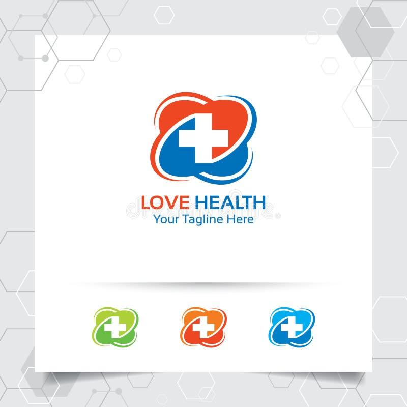 Simbolo più di progettazione medica di vettore di logo di salute con il concetto dell'illustrazione dell'icona del cuore per l'os illustrazione di stock