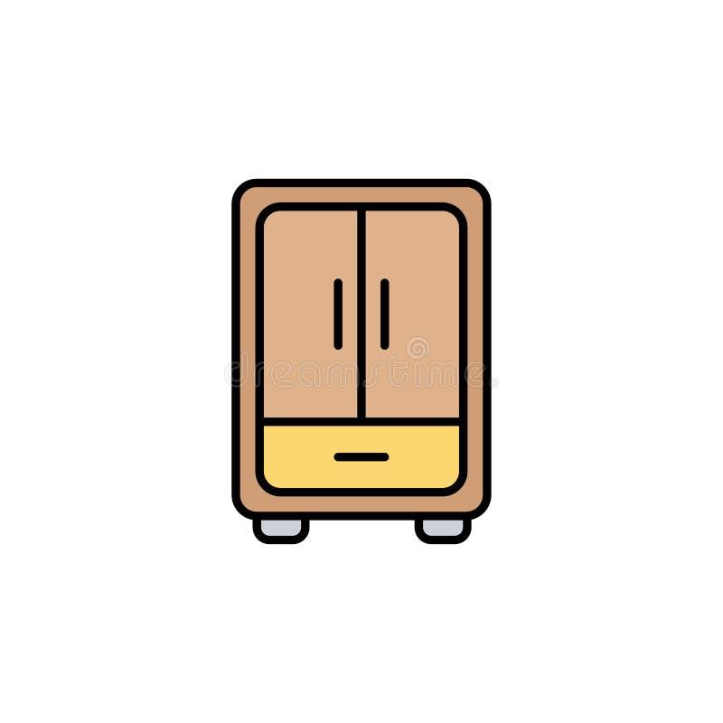 Simbolo piano del segno dell'icona di vettore del guardaroba illustrazione di stock