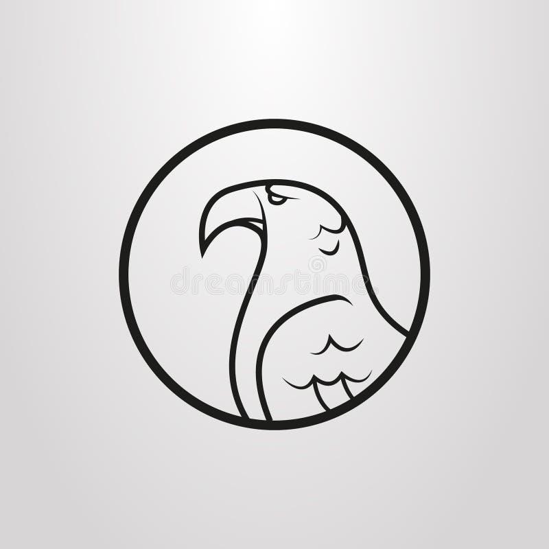 Simbolo piano di vettore semplice del profilo dell'aquila in un giro rotondo illustrazione vettoriale