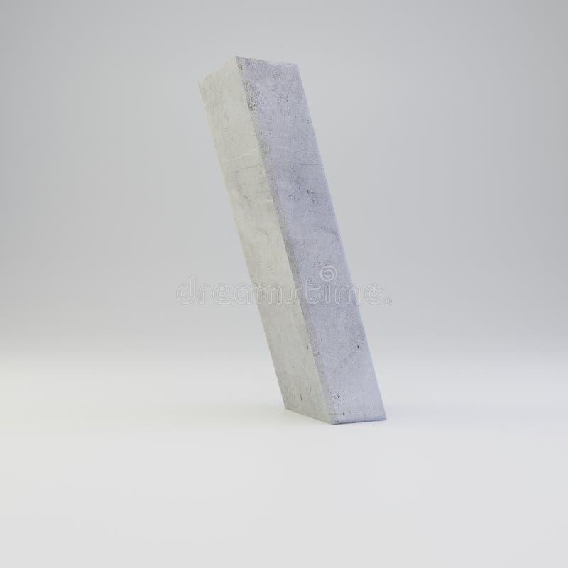 Simbolo posteriore concreto di taglio con struttura del gesso isolata su fondo bianco illustrazione di stock