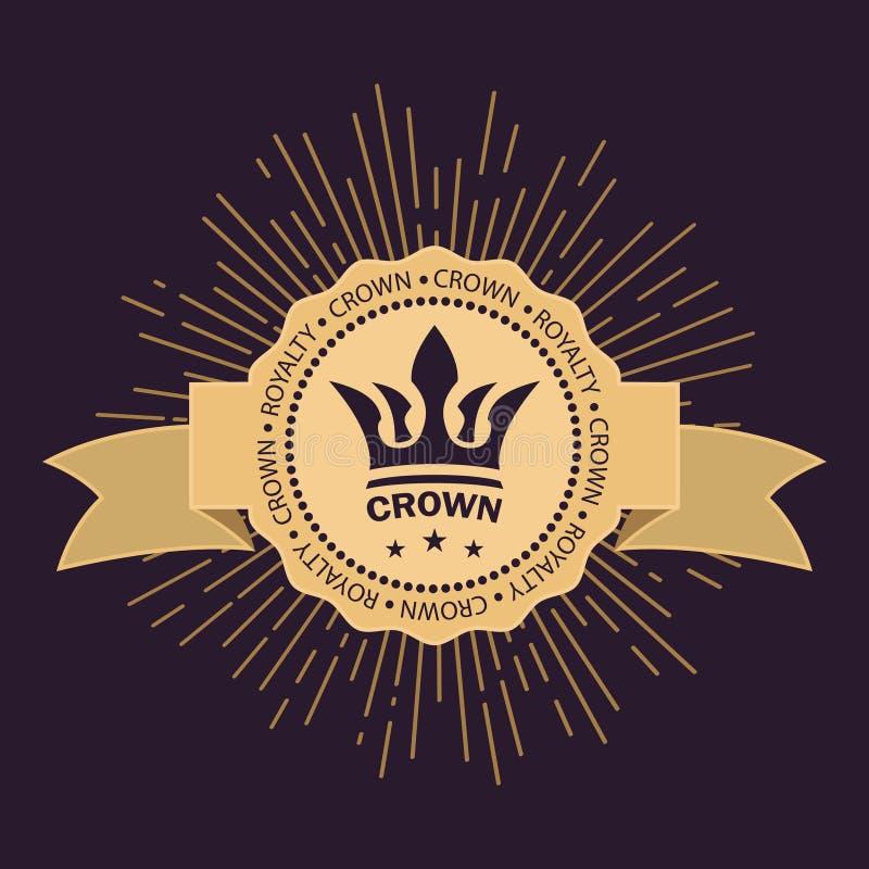 Simbolo reale d'annata di potere e di ricchezza Raggi dorati di gloria e stelle Nastro curvo per testo Immagini di vettore illustrazione di stock