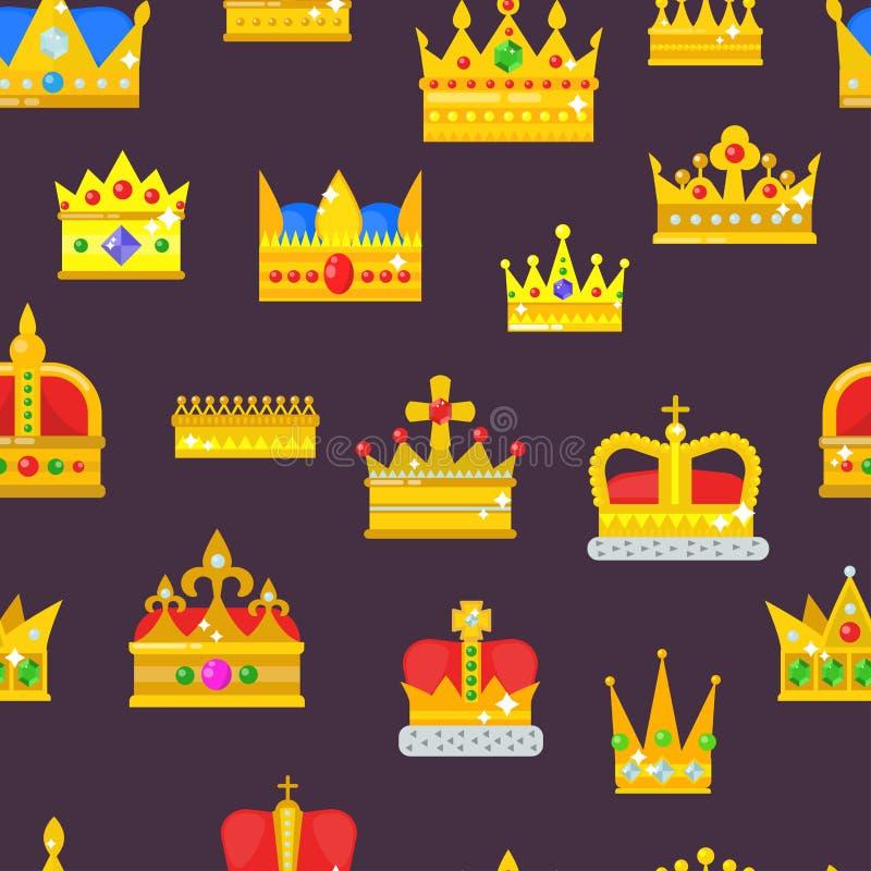 Simbolo reale dorato dei gioielli della corona del modello senza cuciture dei jeweles della corona di autorità di principe di inc illustrazione vettoriale