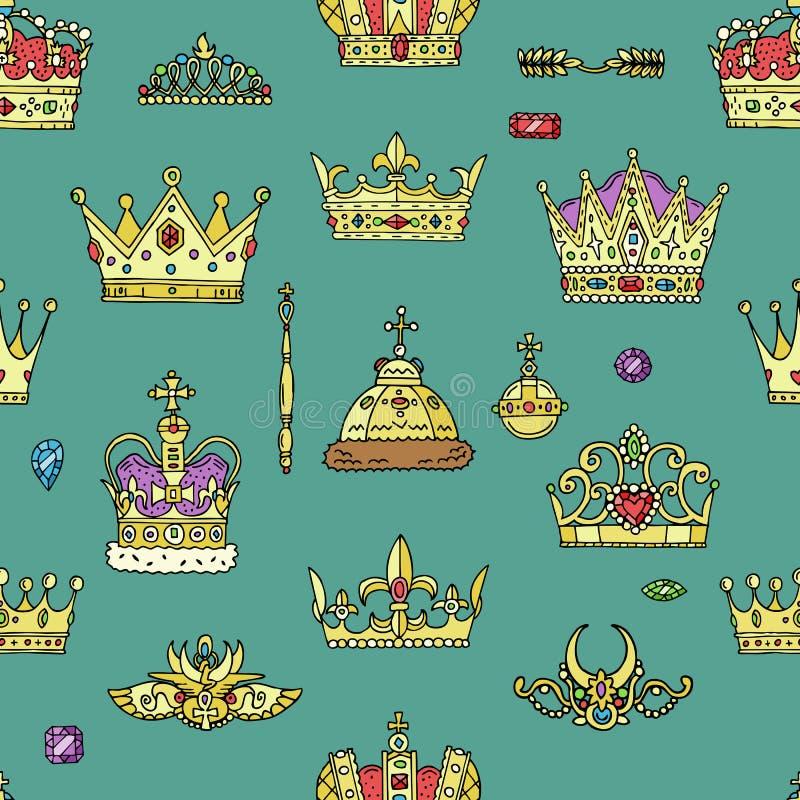 Simbolo reale dorato dei gioielli di vettore della corona del segno dell'illustrazione delle corone della regina e di principessa illustrazione vettoriale