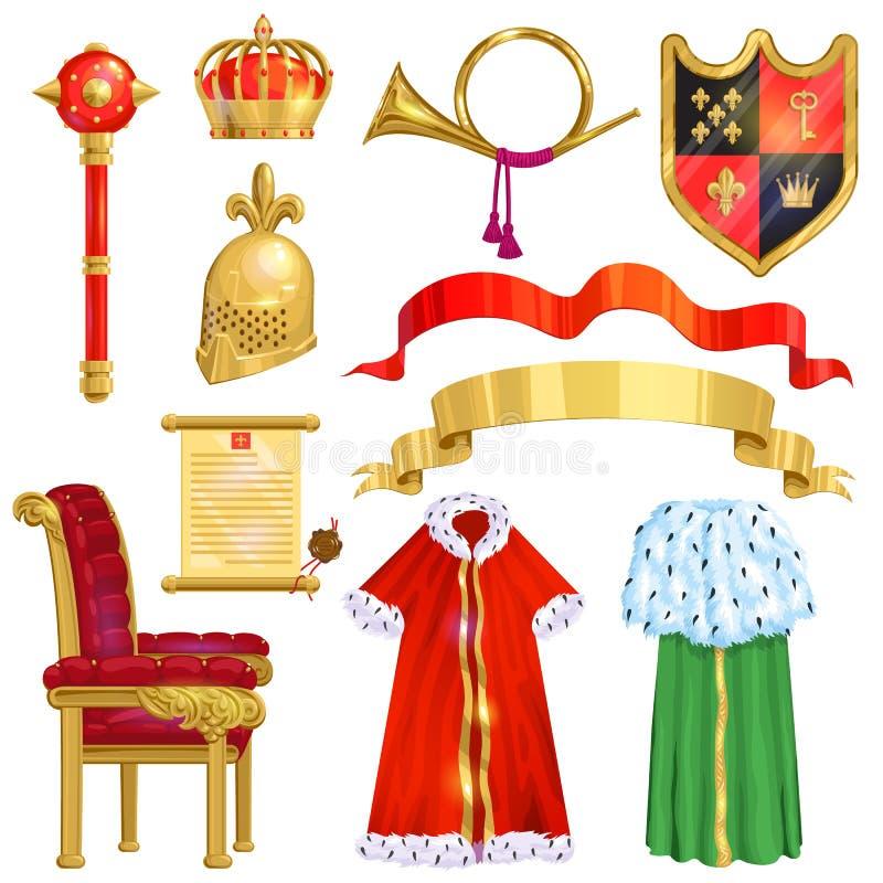 Simbolo reale dorato della corona di vettore della sovranità del segno dell'illustrazione della regina e di principessa di re del illustrazione vettoriale