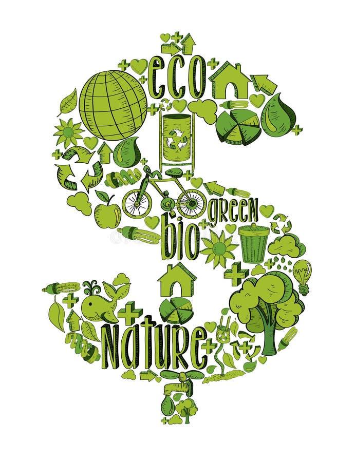 Simbolo ricco verde con le icone ambientali royalty illustrazione gratis