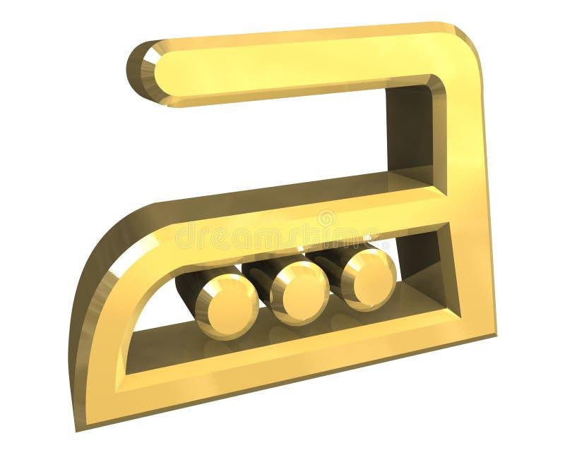 Simbolo rivestente di ferro di calore caldo in oro - 3D illustrazione di stock