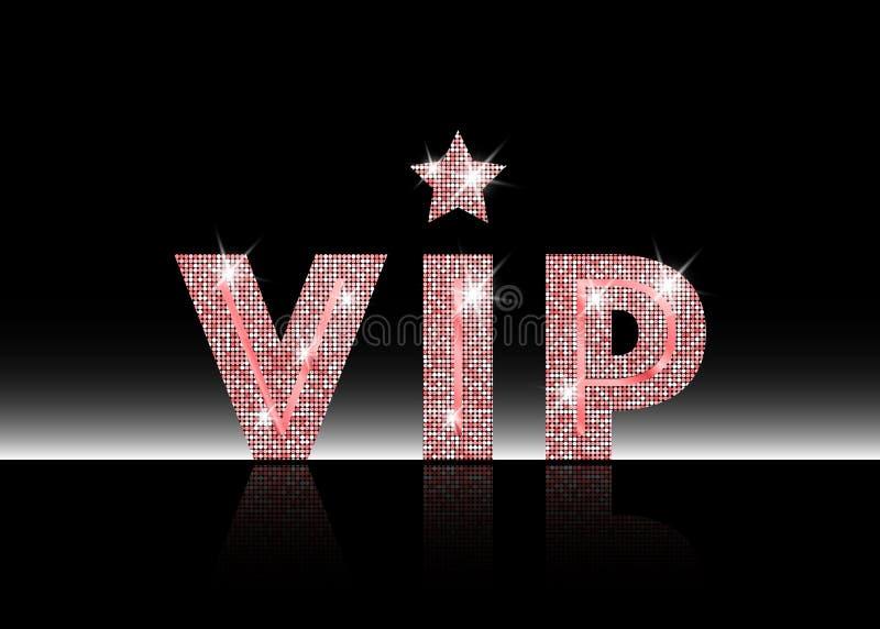 Simbolo rosa di esclusività, l'etichetta VIP con scintillio Persona molto importante - icona di VIP sul segno bianco del fondo di illustrazione di stock