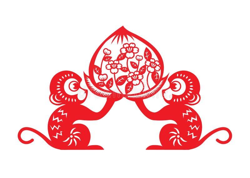 Simbolo rosso dello zodiaco della scimmia del taglio della carta (pesca della tenuta di 2 scimmie) royalty illustrazione gratis