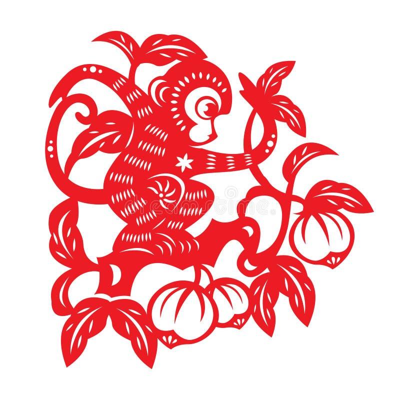 Simbolo rosso dello zodiaco della scimmia del taglio della carta (scimmia sul pesco) royalty illustrazione gratis