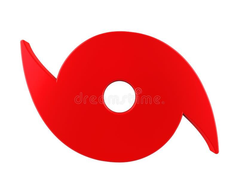 Simbolo rosso di uragano isolato illustrazione di stock