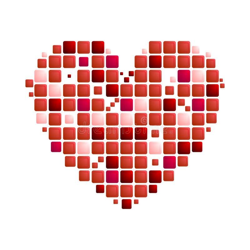 Simbolo rosso geometrico del cuore su fondo bianco illustrazione vettoriale