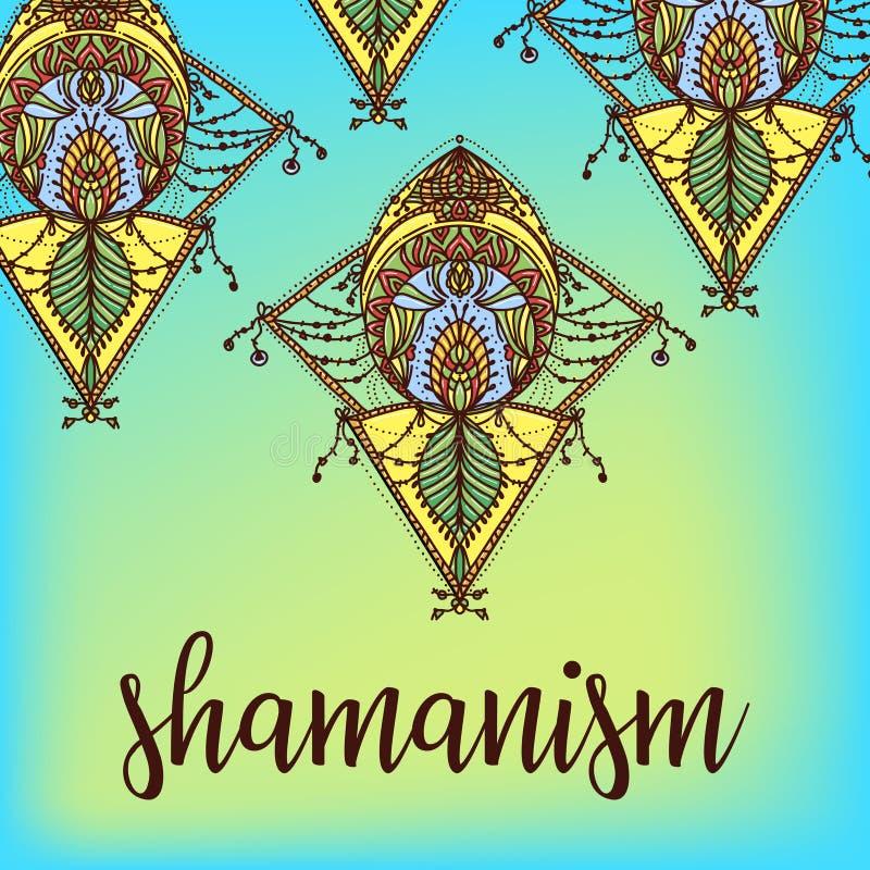 Simbolo sacro della geometria Progettazione per la copertura indipendente dell'album di musica, stampa della maglietta, manifesto illustrazione vettoriale