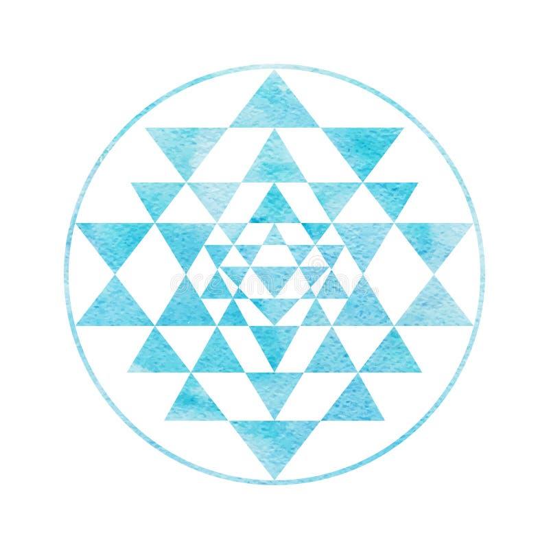 Simbolo sacro Sri Yantra di alchemia e della geometria illustrazione vettoriale